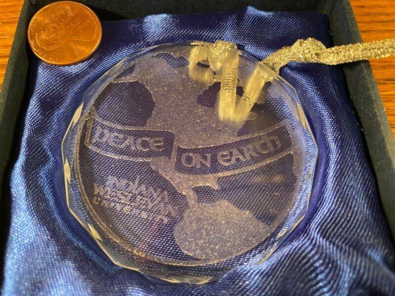 Indiana Wesleyan University Christmas Ornament Peace on Earth Clear Original Box