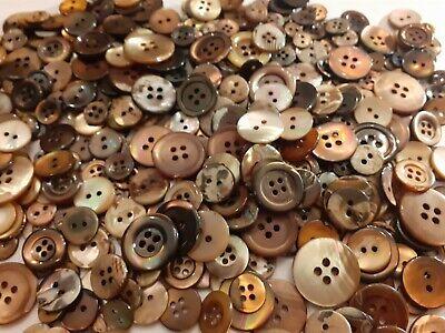 Botones Nacar/Madreperla marrones ANTIGUOS años90 Lote 100 unid