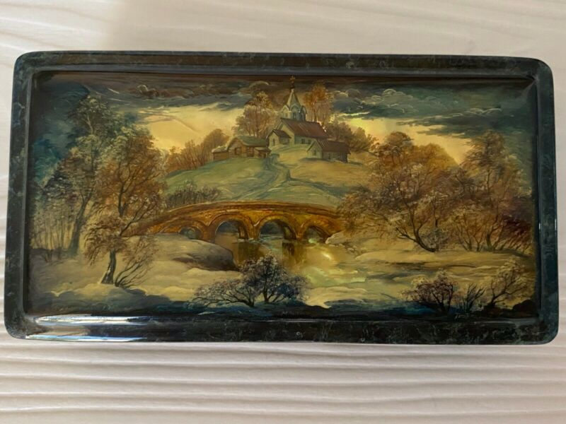 """Russian Lacquer Box """"A Bridge"""" Fedoskino Mother of pearl"""