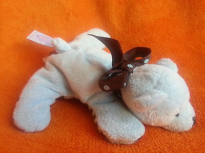 """Mary Meyer Blue Teddy Bear Soft Toy Baby Comforter 7"""" Laying Down Brown Ribbon"""