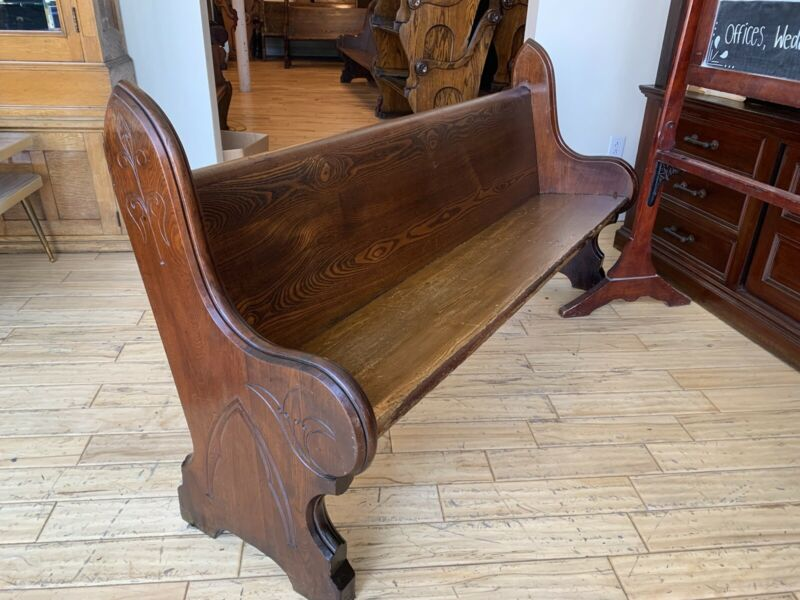 """SUPER Antique 1860 Civil War Era Gothic Chestnut Walnut Church Pew 72"""" New York"""