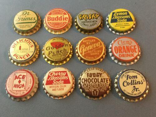 12 Vintage cork lined soda bottle caps Dr Grimes, Buddie, Clem's, Frisky,