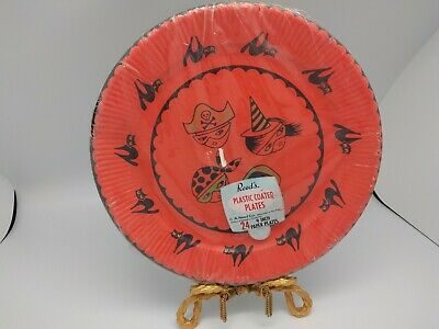 VTG Reeds Sealed HALLOWEEN PAPER PLATES Orange Black Cats & Masked Children 24pc - Halloween Mask Paper Plate