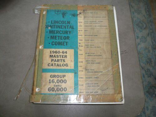 1960 - 64 Lincoln Continental Mercury Meteor Comet Master Parts Catalog Vintage