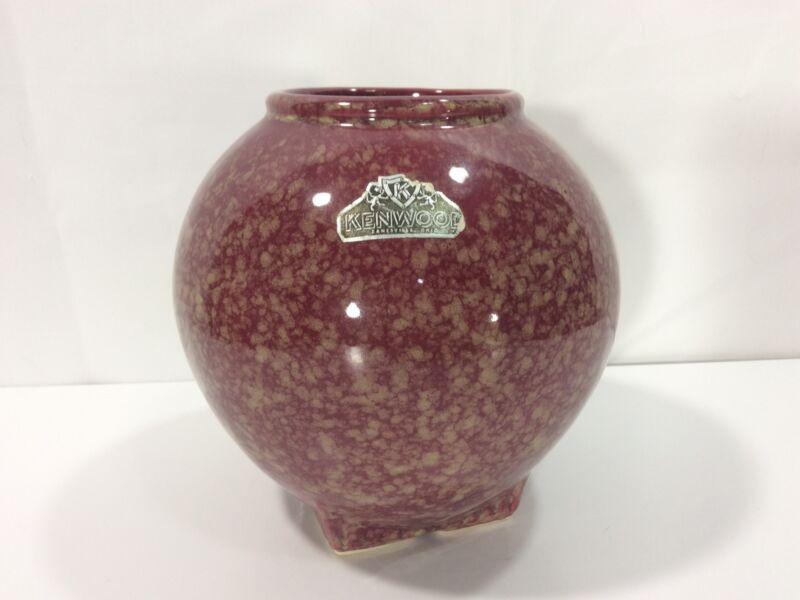"""Kenwood Vintage 1930's Arts & Crafts Shawnee Rust Brown 6"""" Vase"""