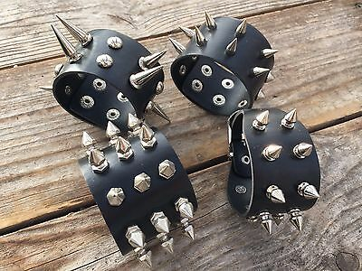 Popular Metal Stud Spike Rivet Leather Bangle Cuff Bracelet Wristband - Spiked Bracelet