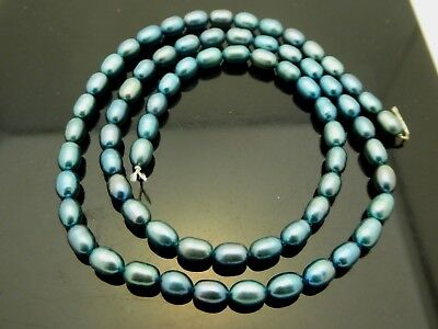 """Genuine Blue Peacock Rice Freshwater Pearl Size 4.5mm Beads Strand 15.5"""""""