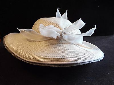 Vintage Ladies Cream Wide Brim Straw Hat Bellini New York
