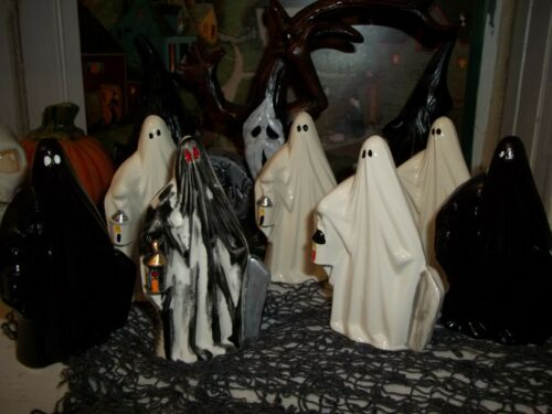 7  VTG HALLOWEEN CERAMIC FIGURES OLD TOMBSTONE GHOSTS 2 USE IN HAUNTED HOUSE