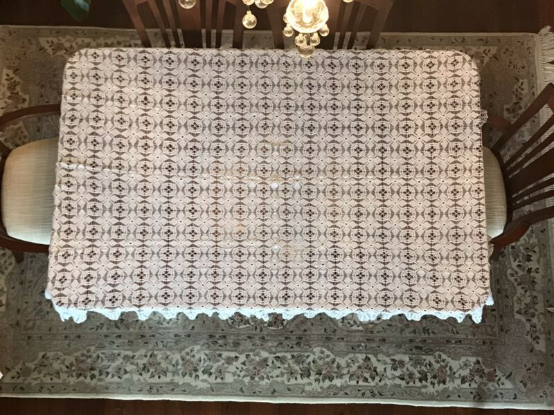 "Antique Handmade Lace White Color Table Cloth  75"" x 50""."