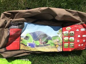 6-person tent with sleeping bags and sun shade