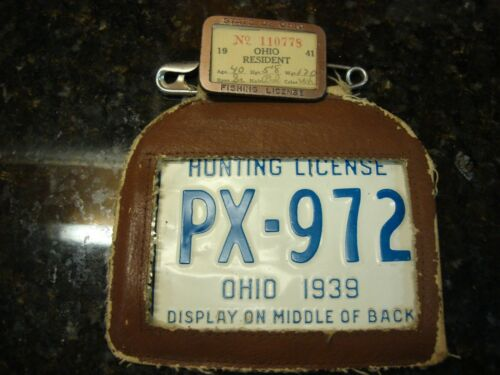 Antique 1939  RARE Metal OHIO Hunting and fishing License with Holder and frame