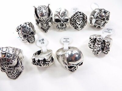 US Seller-15 rings bulk lot cheap jewel hippie skull death skeleton jewelry bulk