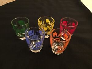 5 Vintage Geometric Design Shot Glasses