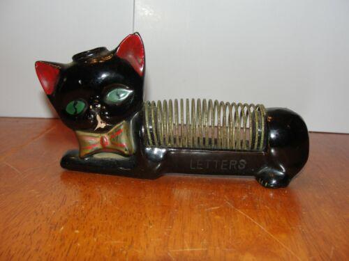 Vintage 1950s Ceramic Cat Kitty Letter Mail & Pen Holder Napkin - JAPAN - EUC