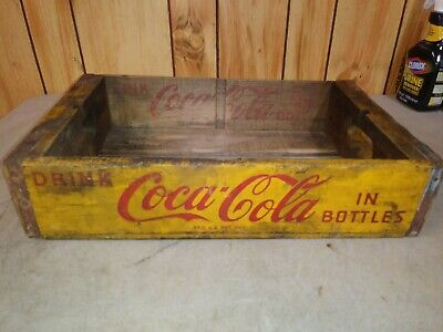 Vintage Coca-Cola Wooden Yellow 24 Bottle Crate Carrier Box case Coke