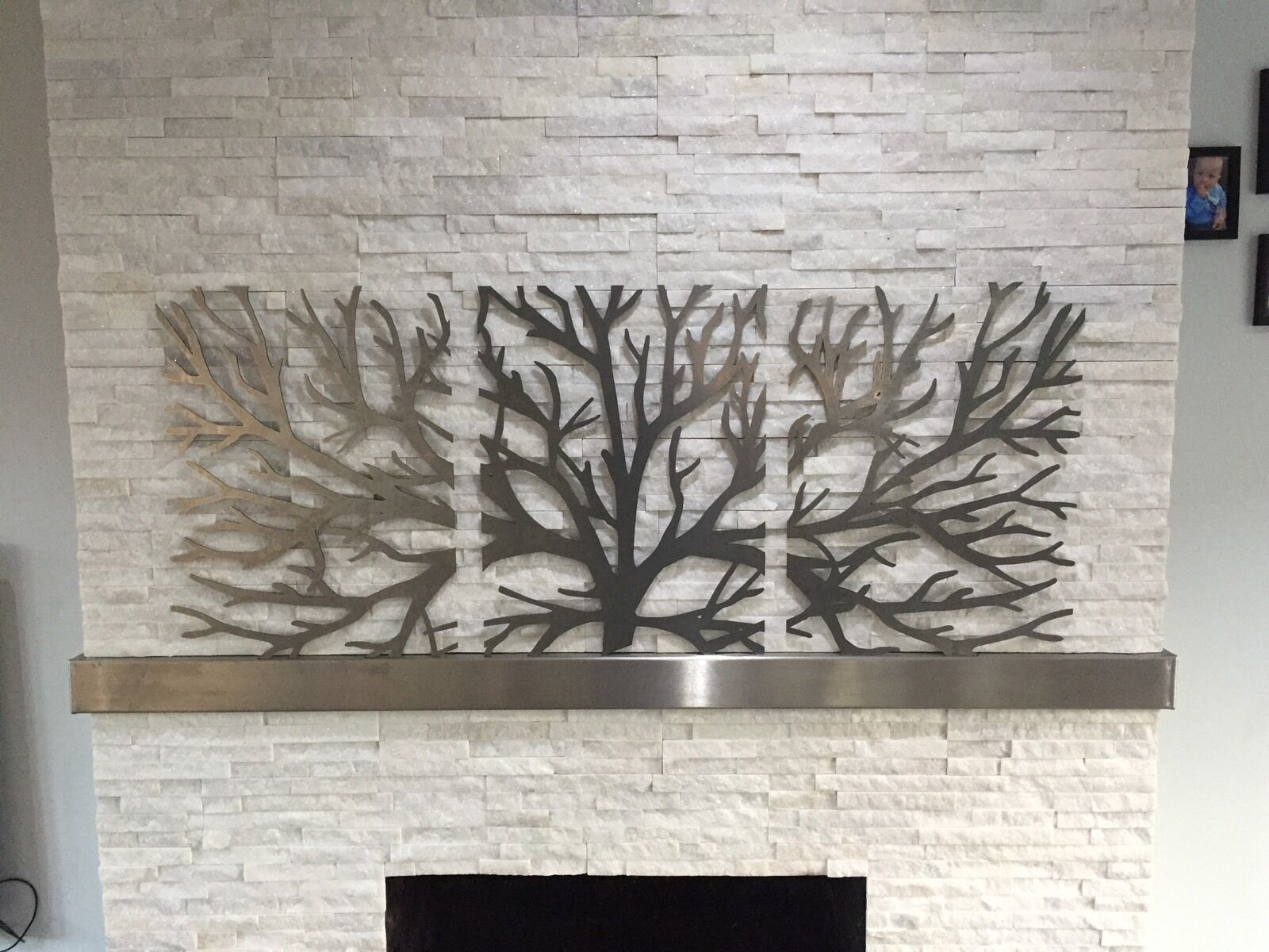 metal wall art decor 3d sculpture 3 piece tree brunch modern 1 picclick uk. Black Bedroom Furniture Sets. Home Design Ideas