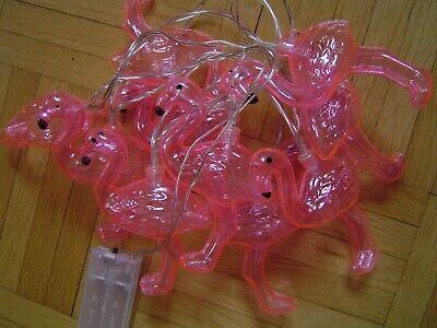 Top Flamingo-Lichterkette rosa transparent 10 Flamingos Batteriebetrieb