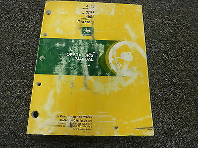 John Deere 4555 4755 4955 Row Crop Tractor Owner Operator Manual Omar110016