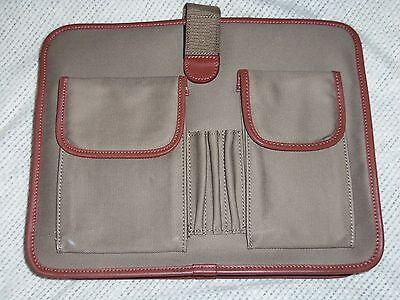 Organizer Computer Laptop Hard Protective Case Khaki Fabric Genuine Leather Trim