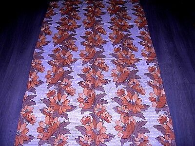 Vintage 60s 70s brown orange flower stripe large length fabric