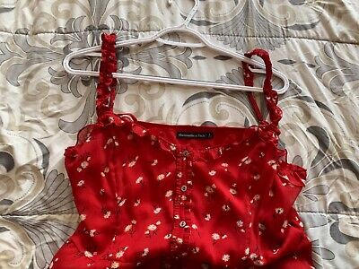 Red Floral Dress Abercrombie and Fitch Size Large