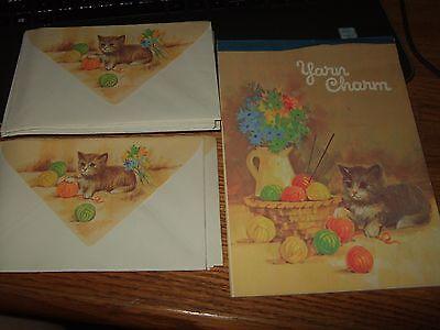 Vintage cat yarn charm Stationery Paper Writing 32 sheets 16 envelopes unused