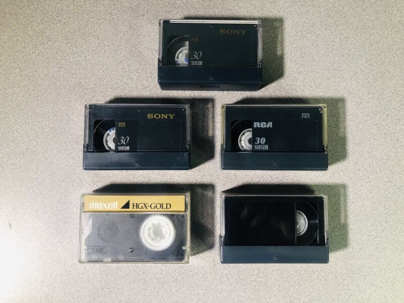 Assorted Lot of 5 used JVC VHS-C Camcorder Video Cassette Tapes (Used)