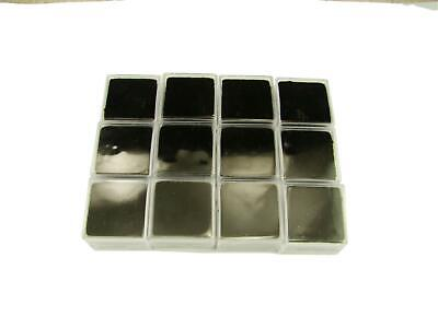 Lot Of 12 Square Gold Nugget Display Cases W Black Foam-gems Minerals Coin