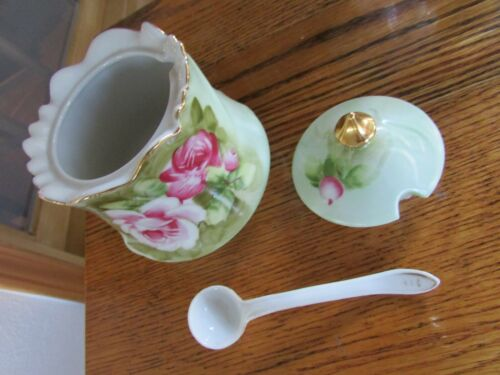 LEFTON HEAVENLY ROSE SUGAR BOWL and LID WITH GOLD TRIM EUC