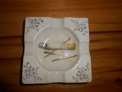 "ANTIQUE PORCELAIN ASHTRAY MARKED AUSTRIA 52 H--4"" X 4"" X 1"""
