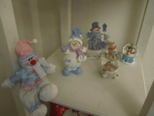 Christmas snowman figurines lot of 5 All with shades of BLUE