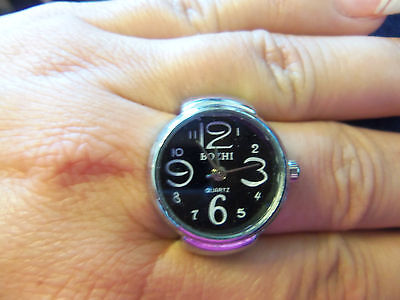 New Quartz Silver Tone Stretch Adjustment Finger Watch Ring With BLACK Face