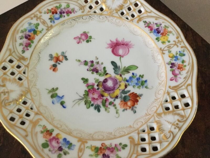 Dresden Germany Reticulated Dessert Plate