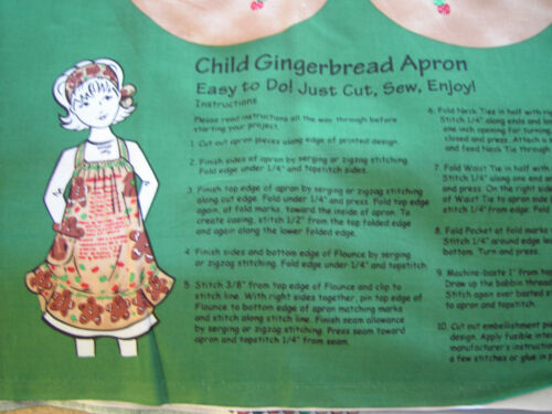 """Child's Gingerbread Apron Craft Panel with hair snuggler - 17"""" long, tan, cotton"""