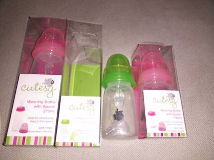 3 x brand new travel bottles with teat and weaning spoon