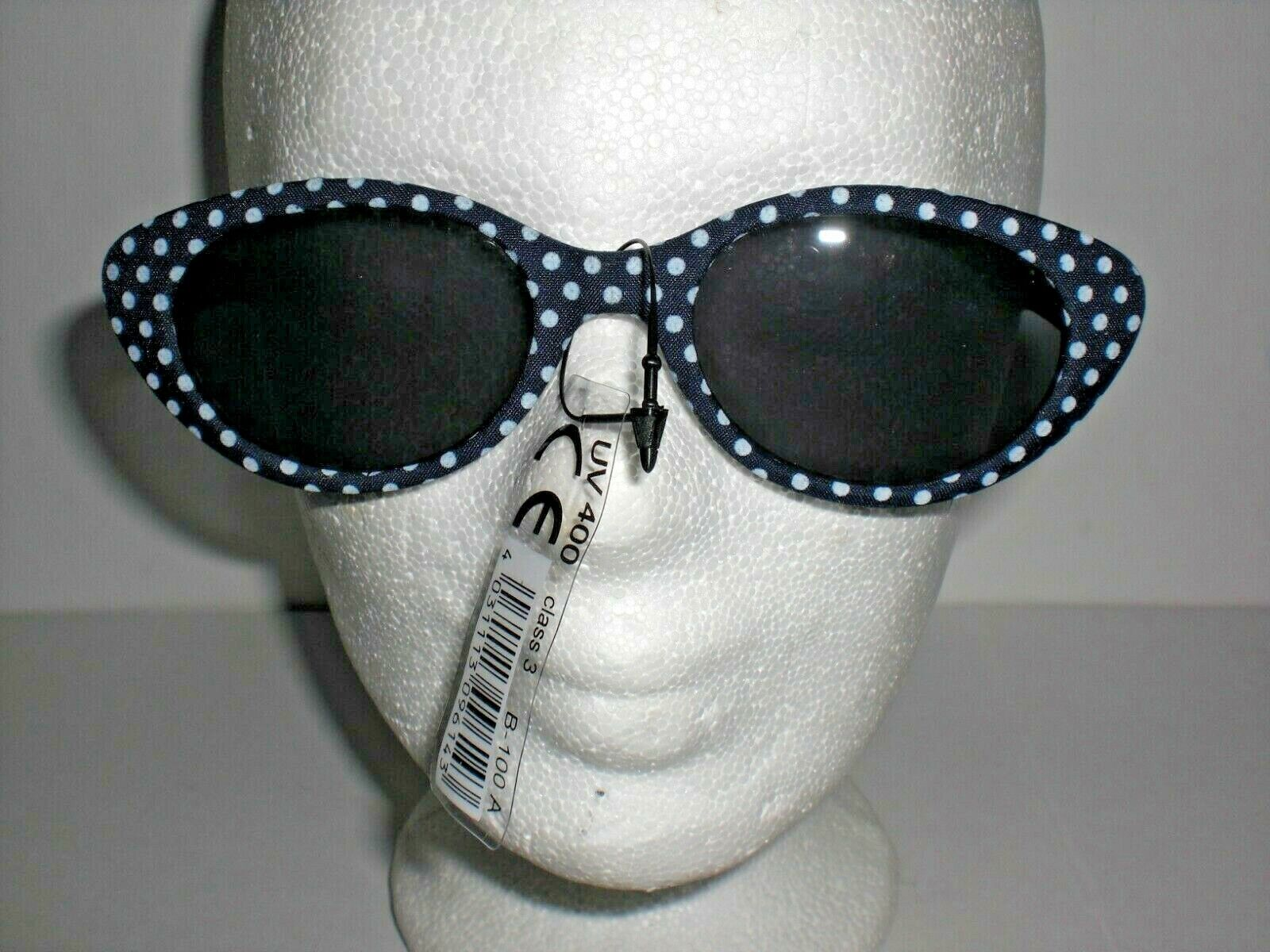 blau oder rote; weiß gepunktete Sonnenbrille, Kunststoff, dunkle Gläser, flippig