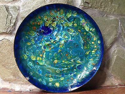 """STUNNING VINTAGE MID-CENTURY SOLID COPPER & ENAMEL LARGE 10"""" BOWL PLATE DISH for sale  Shipping to Canada"""