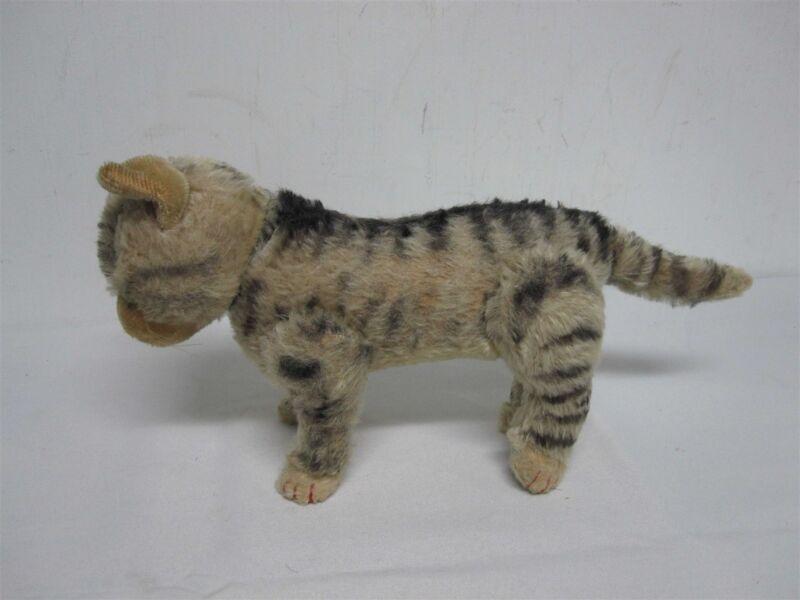 "VINTAGE STEIFF GERMANY 6 3/4"" STRIPED TABBY CAT w JOINTED LEGS & HEAD TURNS"