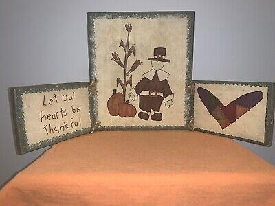 Wooden Pilgrim Thanksgiving Decor Pumpkin Corn Stalks Table Plaque Hearts