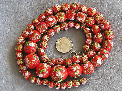 Rare Vintage Antique Venetian Murano Glass Wedding Cake Bead Necklace Red Foil