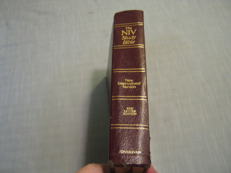 THE NIV STUDY BIBLE New International Version BURGUNDY BONDED LEATHER 1985