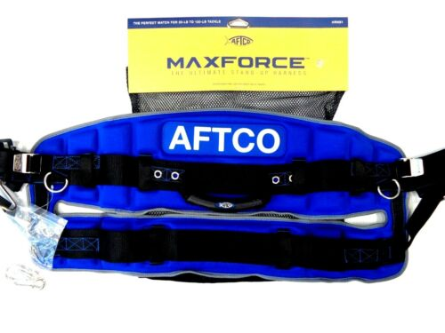 Aftco MaxForce Stand-Up Fighting Harness HRNS1 - BLUE - 30-130 Lb Tackle - NEW