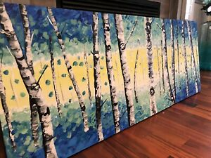 Acrylic Birch Trees Painting Handcrafted  Wall Painting by Sami