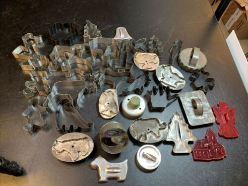 Lot Of 35 Vintage Tin Cookie Cutters Cut Out Animals Hearts Trees Holiday