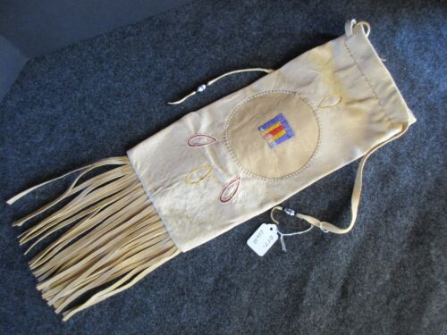 NICE QUILLED PIPE BAG, NATIVE AMERICAN  NICE LEATHER CHANUPA BAG,   OTT-02620