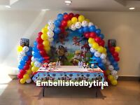 Balloon decor and paper flower backdrops for rent!