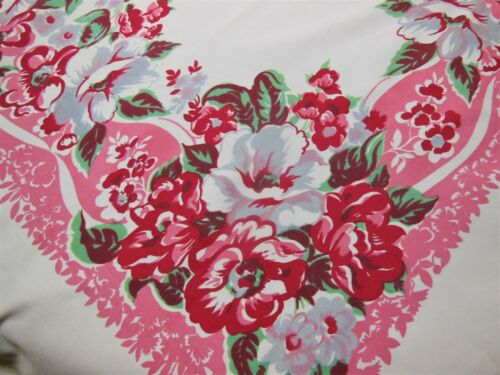 Pink Red Gray Vintage Tablecloth Large Magnolia