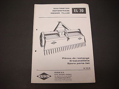 (Kuhn Manual Power Tiller EL 70 Spare Parts List No. 172.01)
