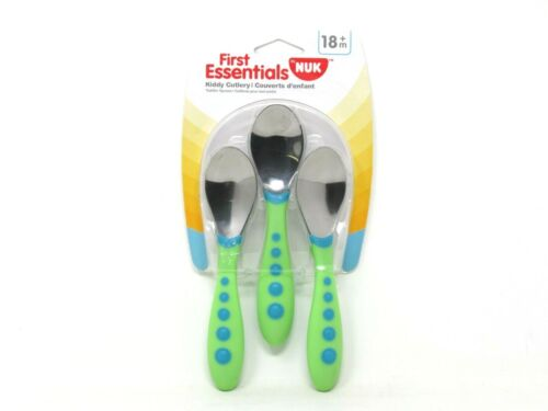NUK First Essentials Kiddy Cutlery 3 Pack Spoons Green BPA Free Toddler 18m +